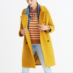 Madewell Yellow Boucle Double Breasted Coat size S